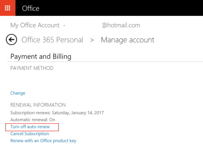 Turn off auto-renew in Office 365