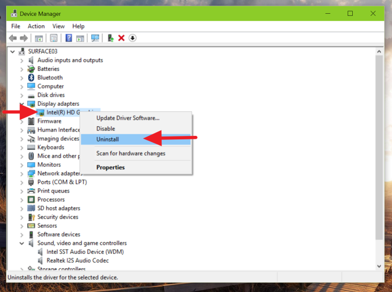 Uninstall display adapter using Device Manager in Windows 10