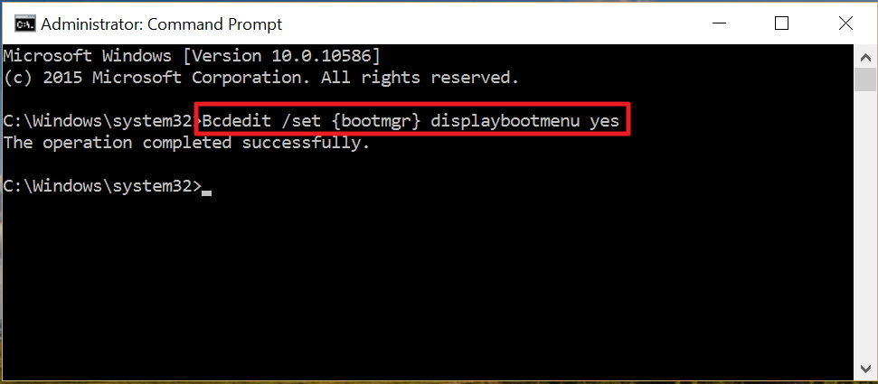 Command to display boot menu in Windows 10