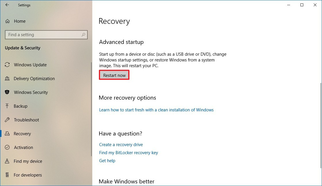 Recovery settings, Advanced startup
