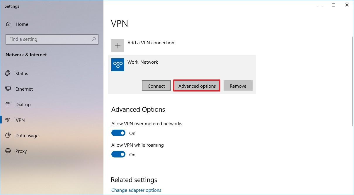 VPN connection advanced settings