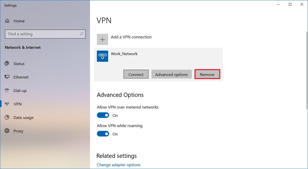 Delete VPN connection on Windows 10