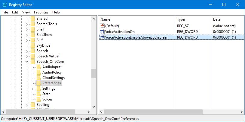 Cortana on the Lock screen registry VoiceActivationEnableAboveLockscreen key
