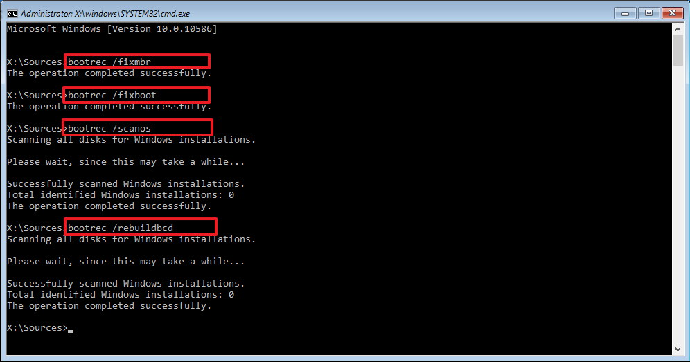 Bootsec.exe fixing the Master Boot Record (MBR) on Windows 10