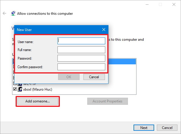 Create new VPN user on Windows 10