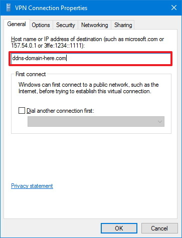VPN Connection address properties
