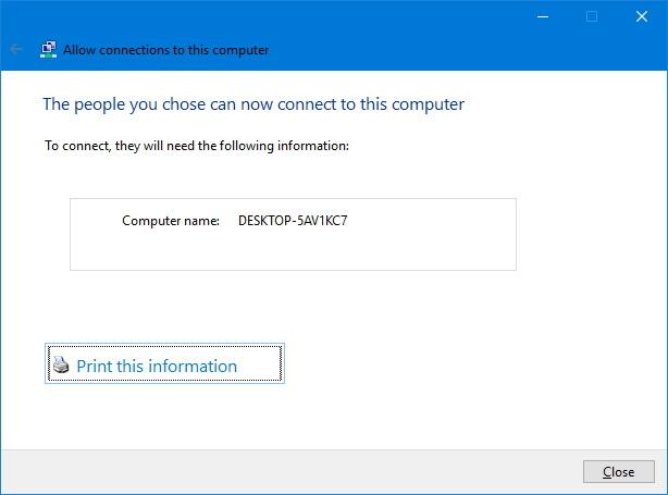 VPN setup completed on Windows 10