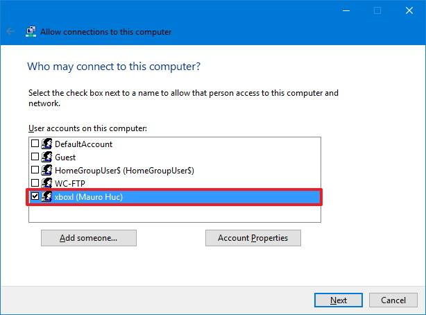 VPN user setup on Windows 10