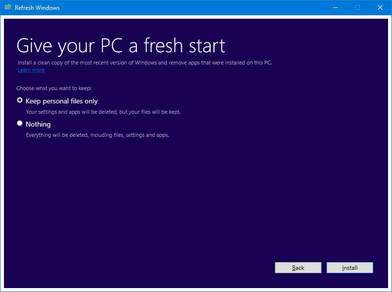 Refresh Windows tool on the Anniversary Update