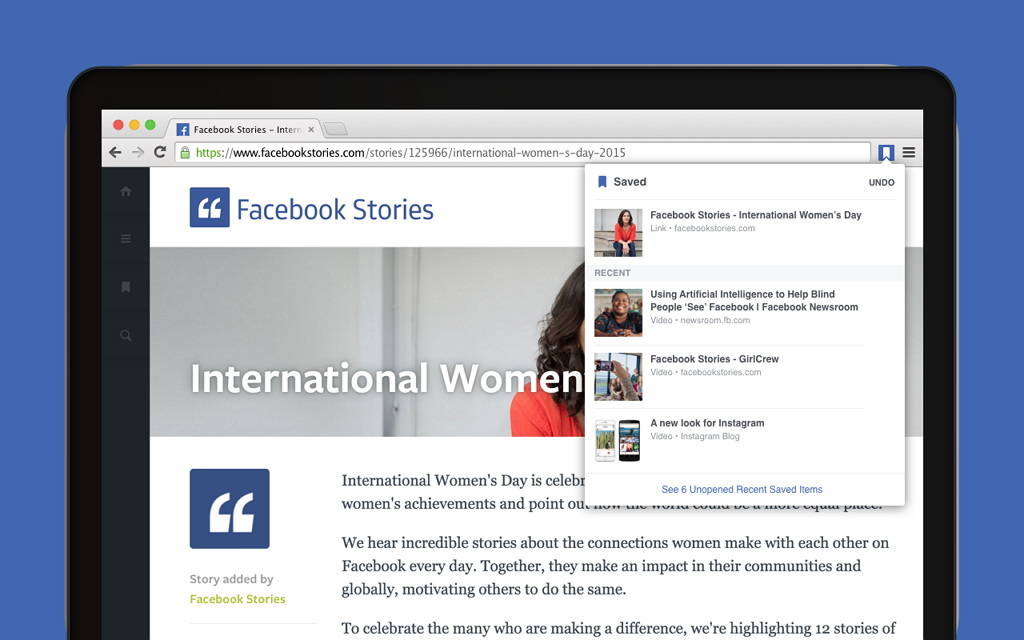 Save to Facebook Chrome extension