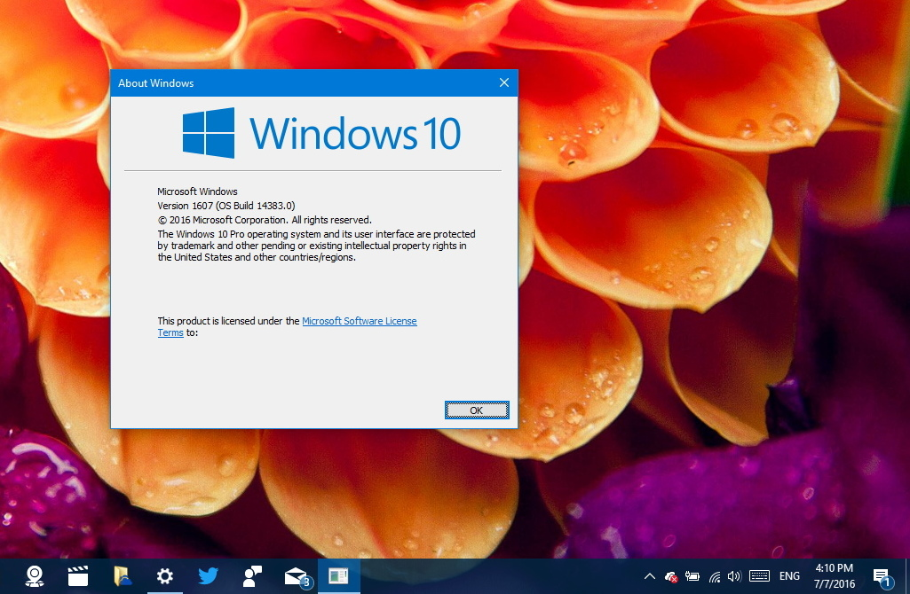 Windows 10 build 14383 without watermark