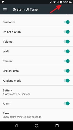 System UI Tuner Status bar