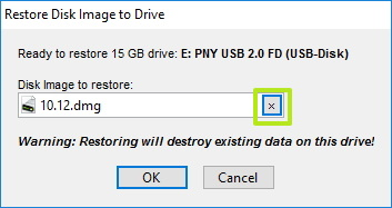 Selecting dmg macOS file to create bootable USB drive