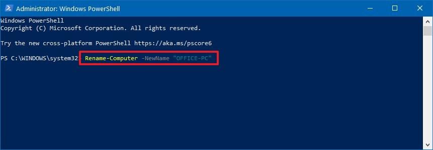PowerShell rename Windows 10 PC command