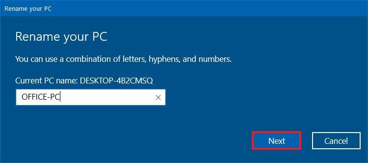 Windows 10 Rename Your PC dialog