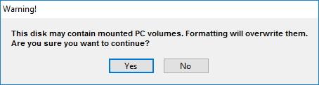 TransMac format warning
