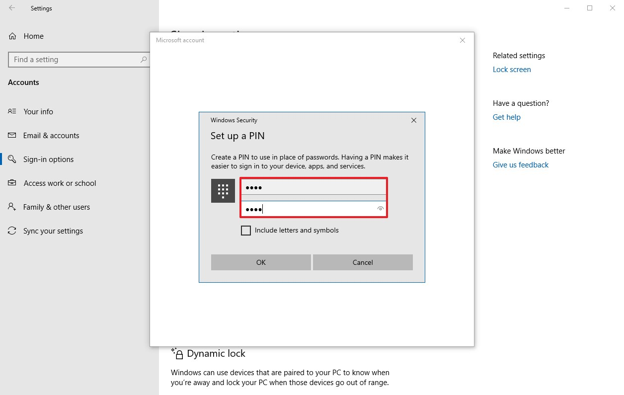 Create personal PIN for Windows 10 account