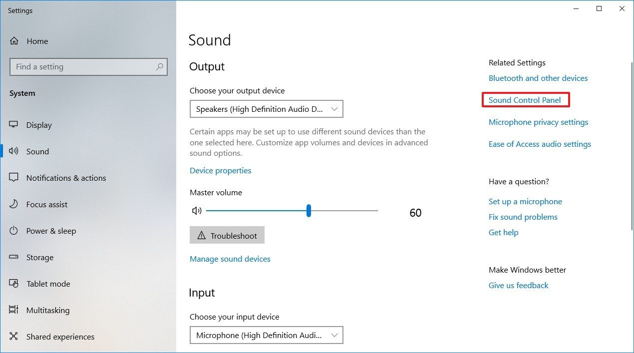 Sound settings on Windows 10