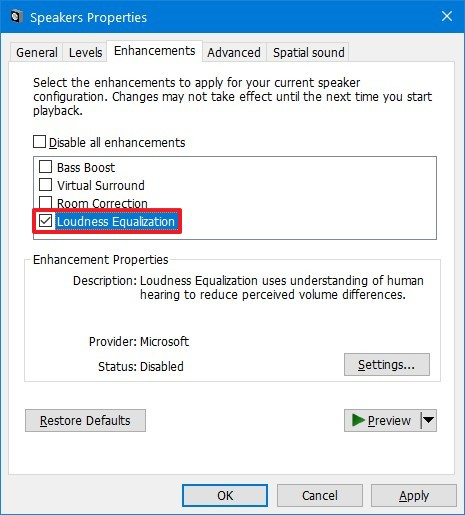 Loudness Equalization option