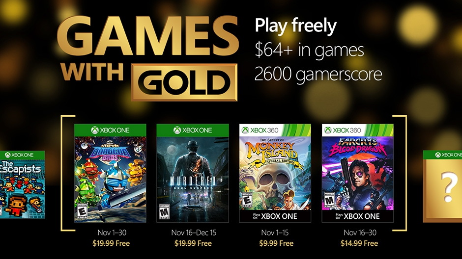 Xbox games with gold for November 2016