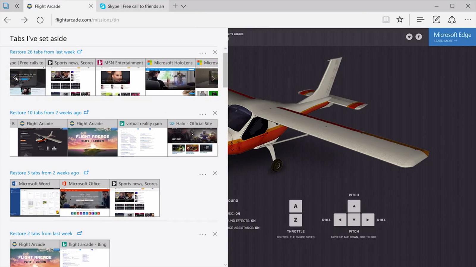 Microsoft Edge new Tabs I've set aside feature