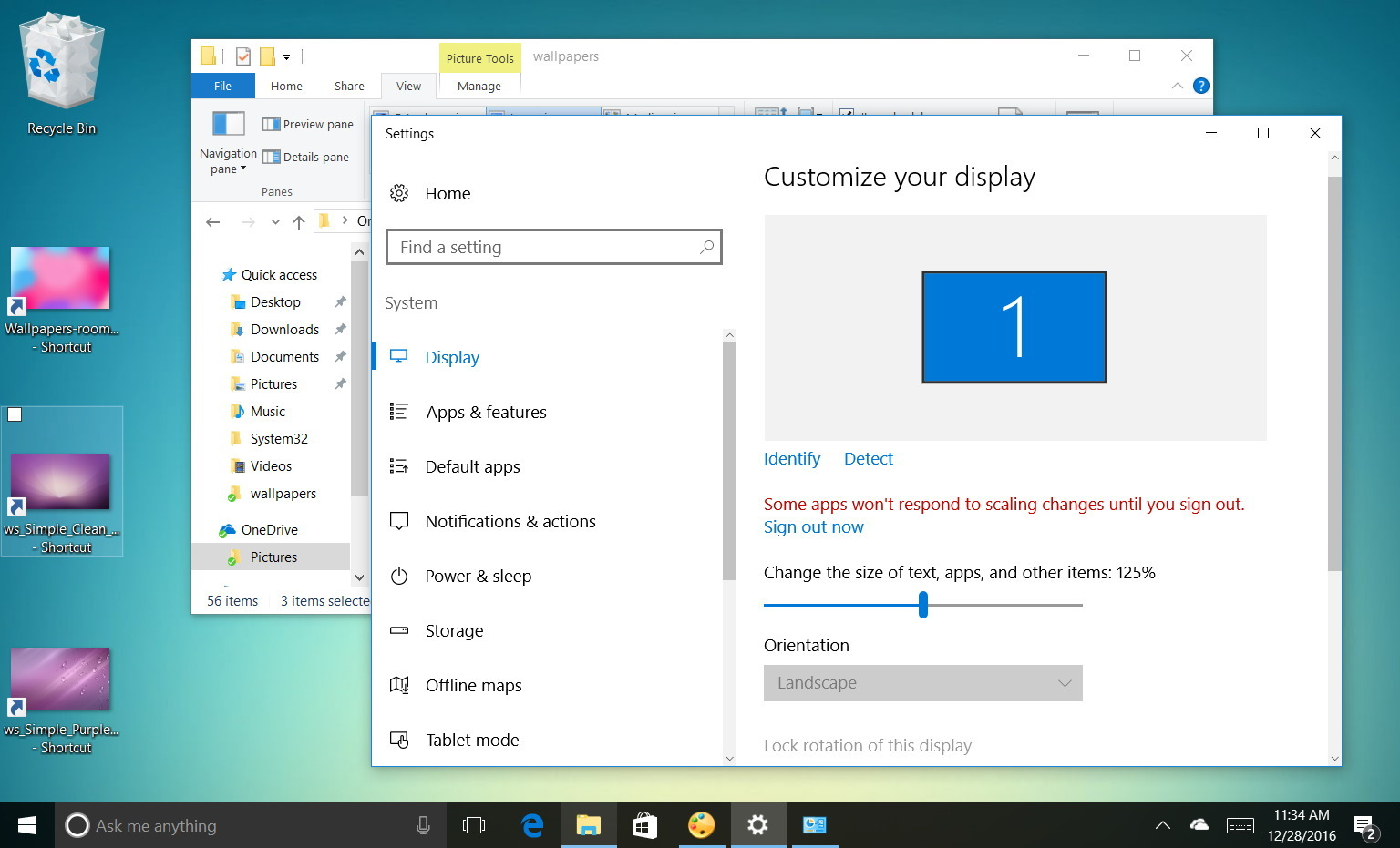 How to change display settings to make icons and text for Change windows