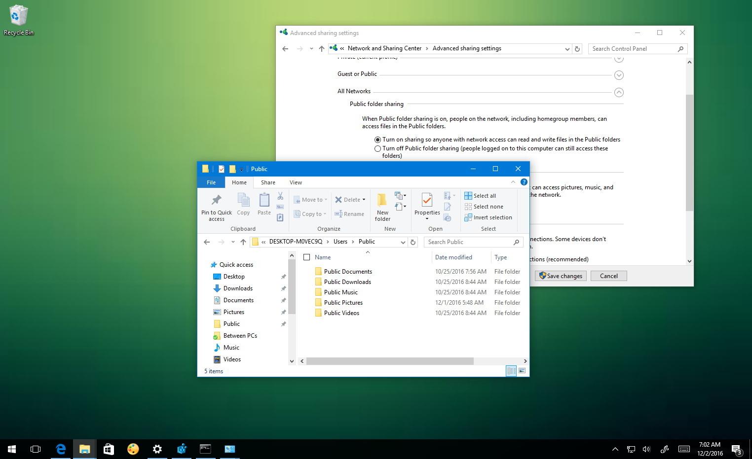 Public folder on Windows 10