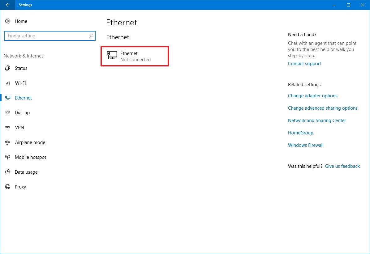 Ethernet settings