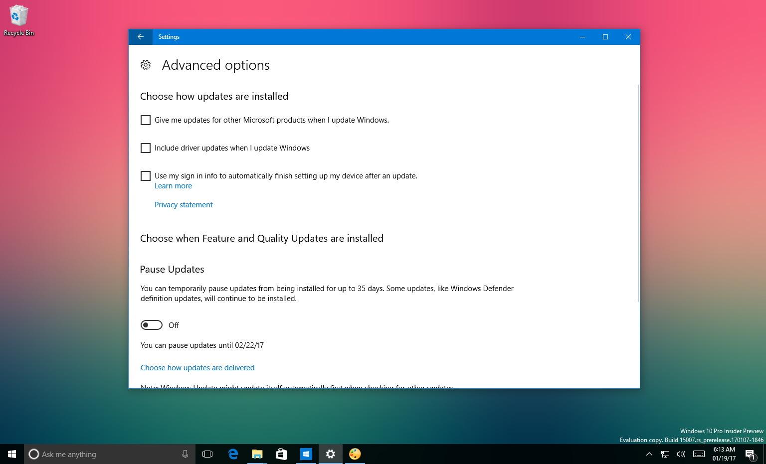 Windows 10 driver update option