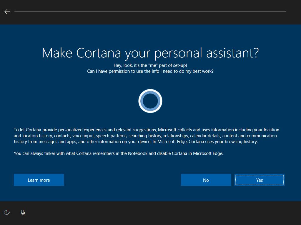 Windows 10 new OOBE