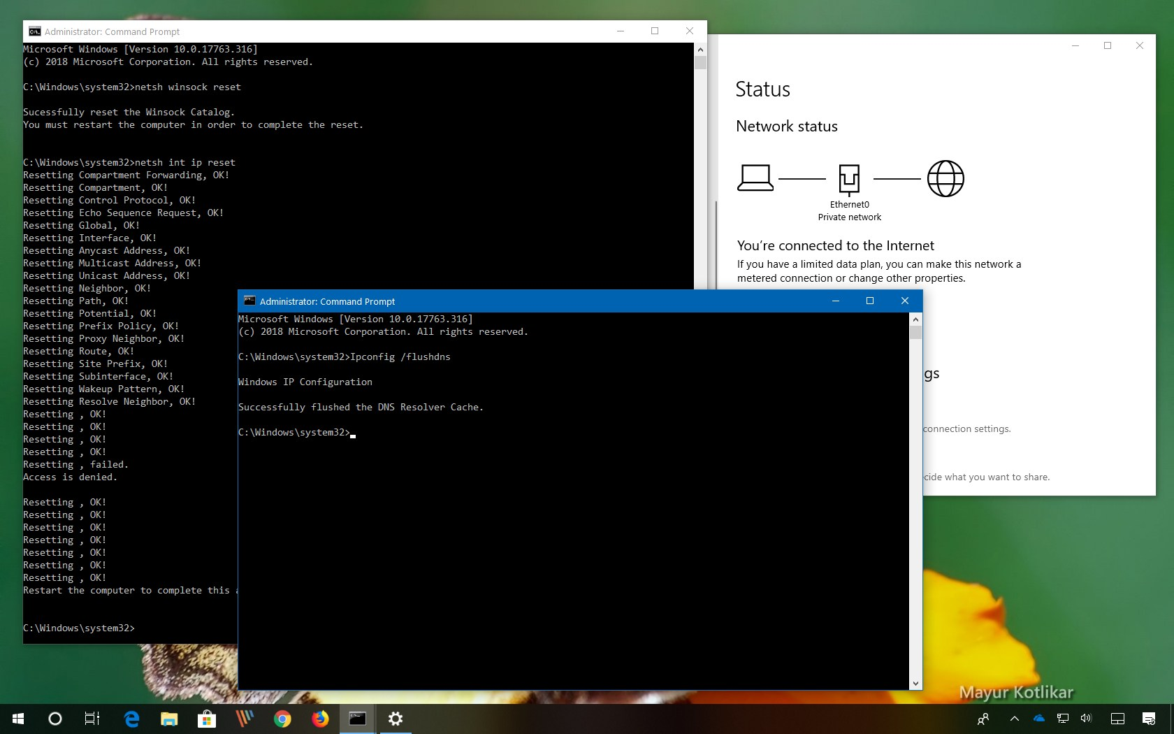 Reset WinSock to fix Unidentified Network on Windows 10