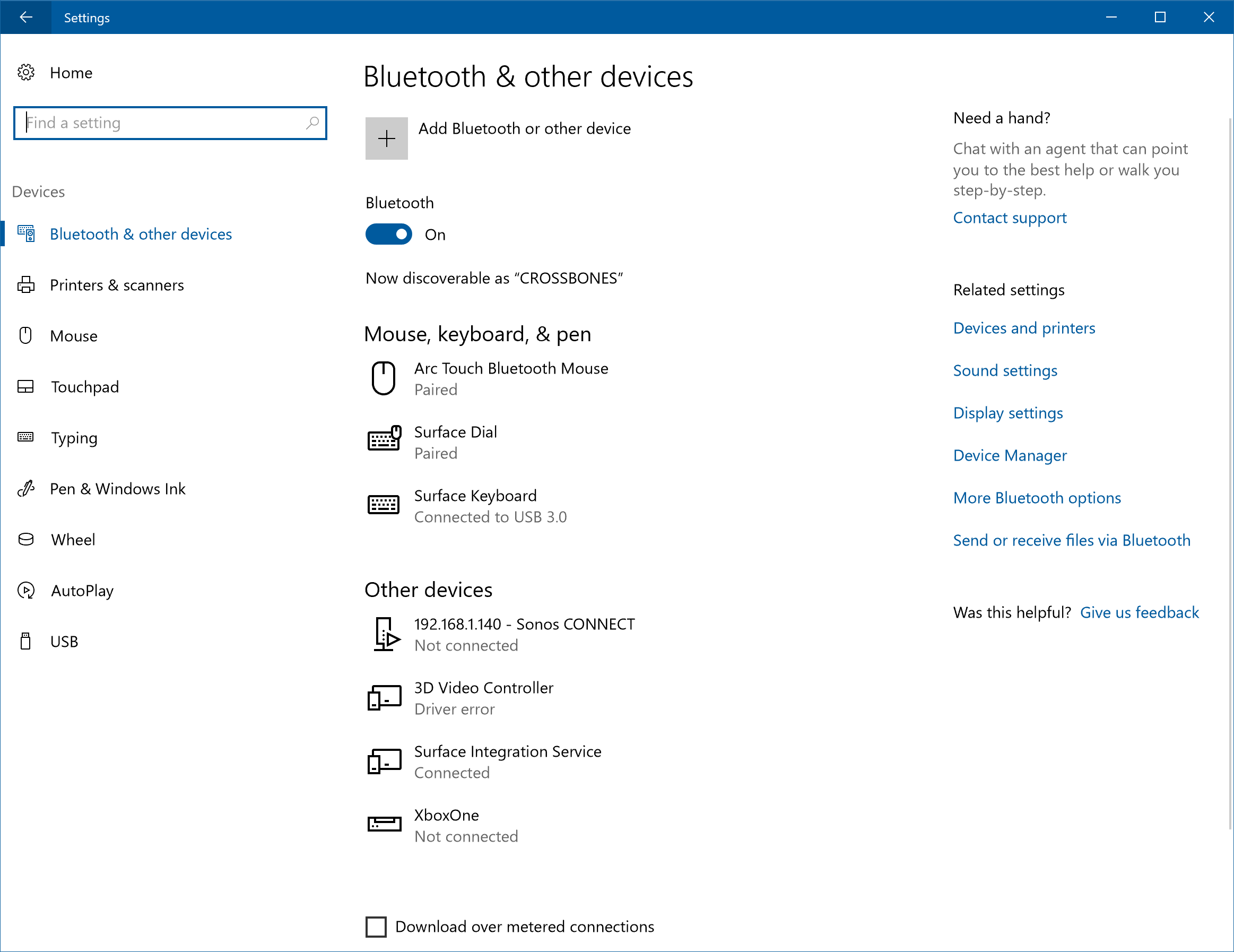 Bluetooth & other devices settings