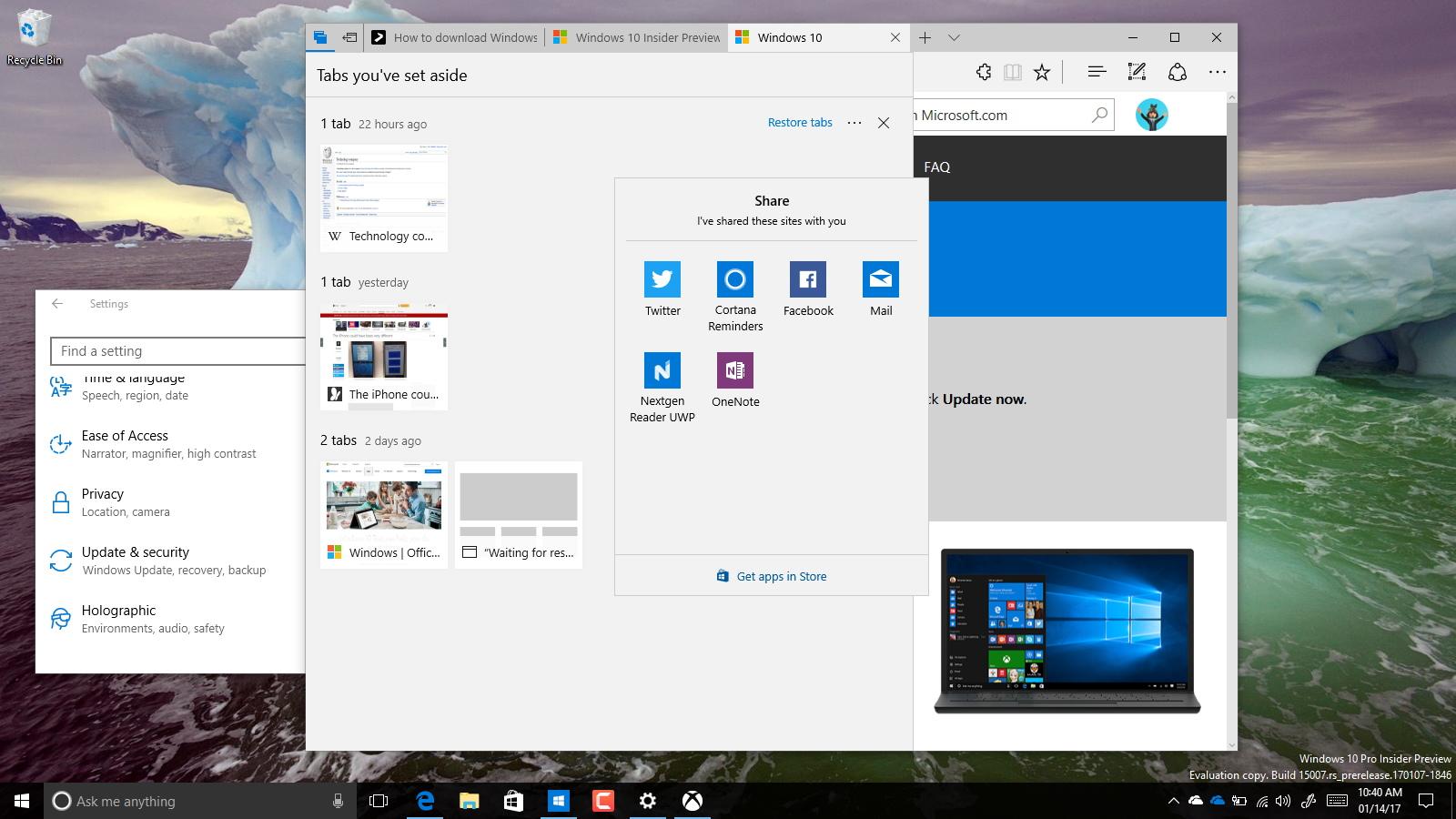 Windows 10 Creators Update (build 15007)