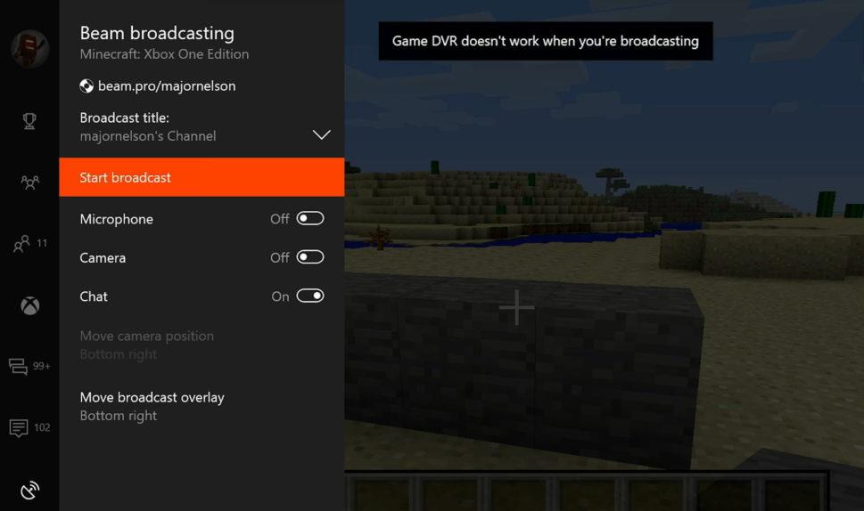 Beam broadcast on Xbox One