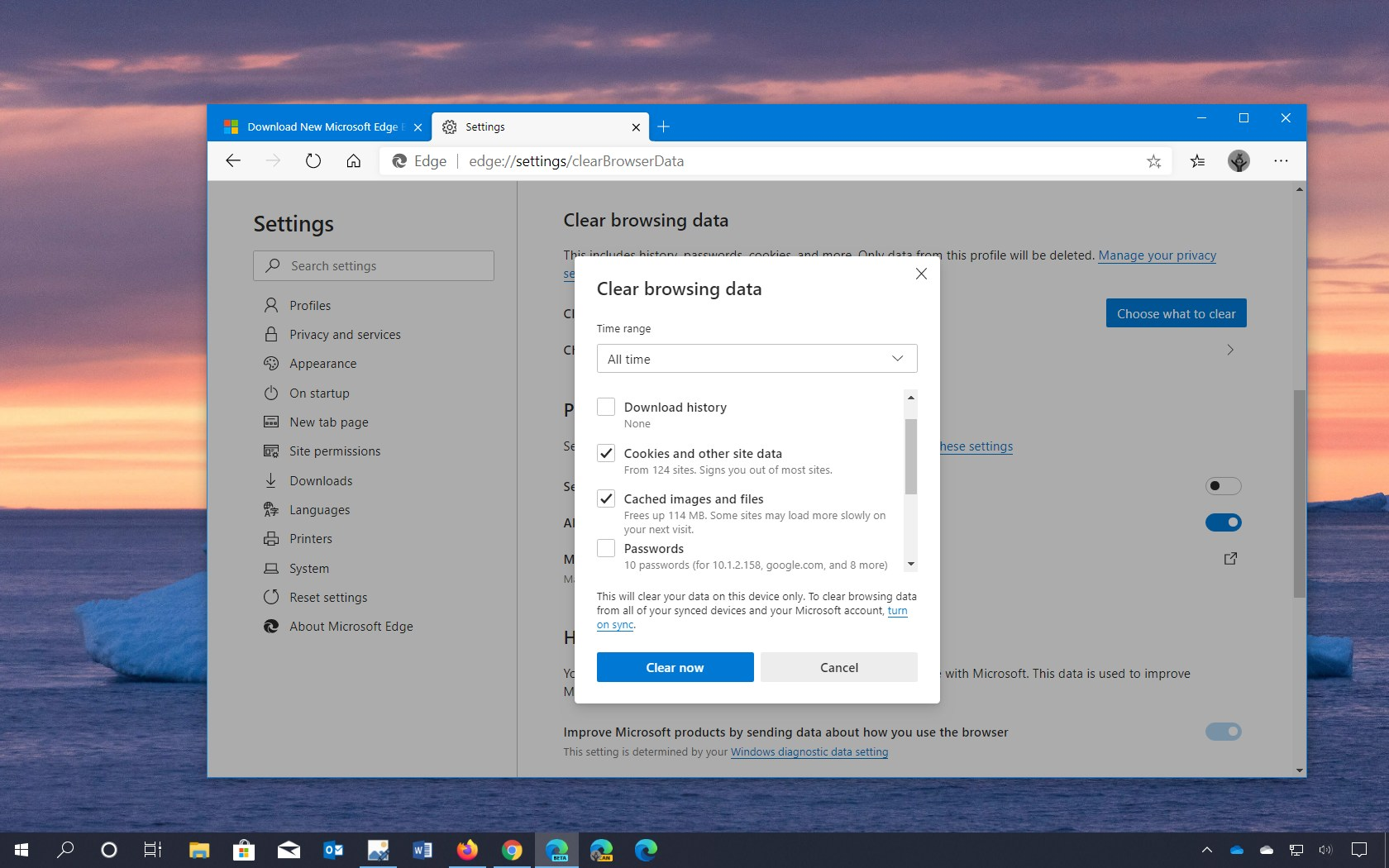 Microsoft Edge clear cache and cookies