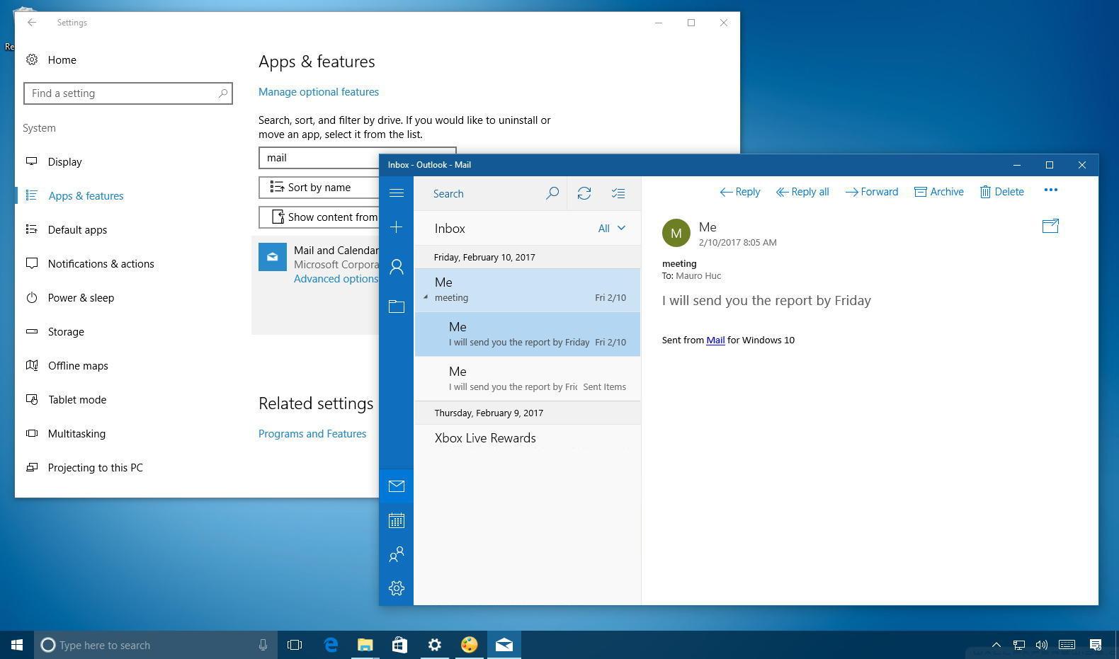 Reset Mail and Calendar app on Windows 10