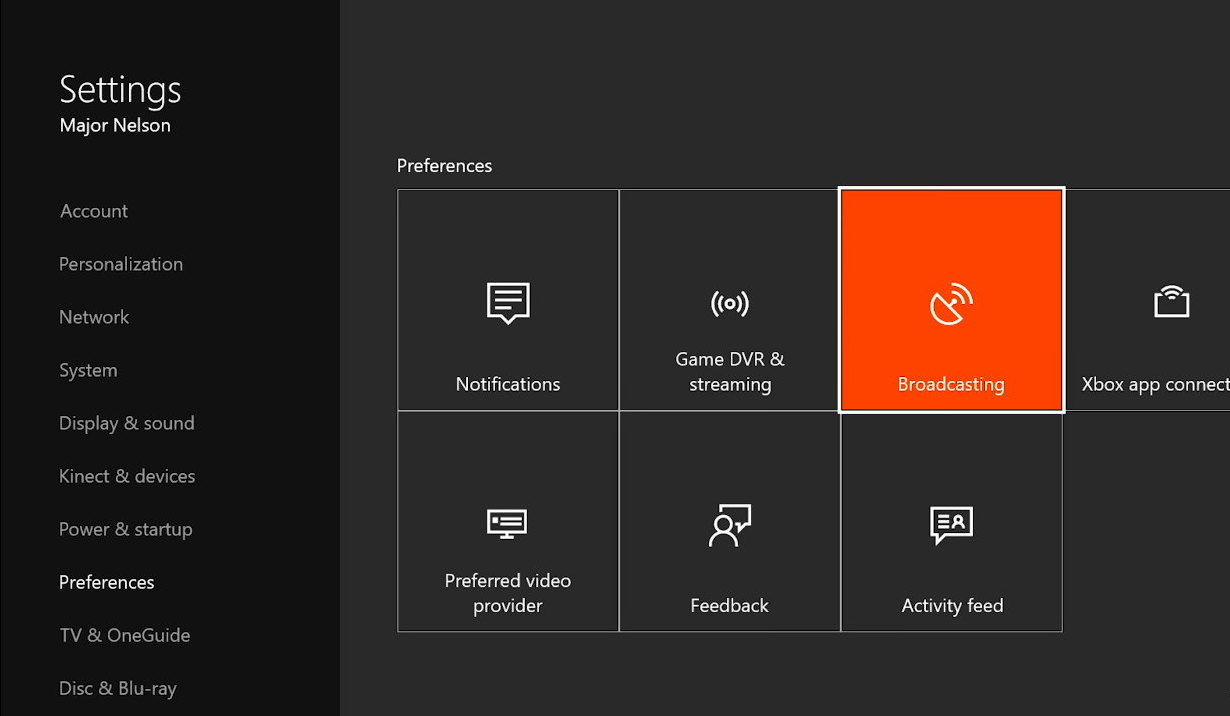 Xbox One Preferences settings