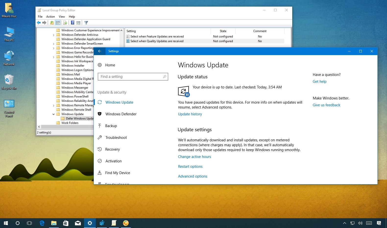 Defer quality updates on the Windows 10 Creators Update