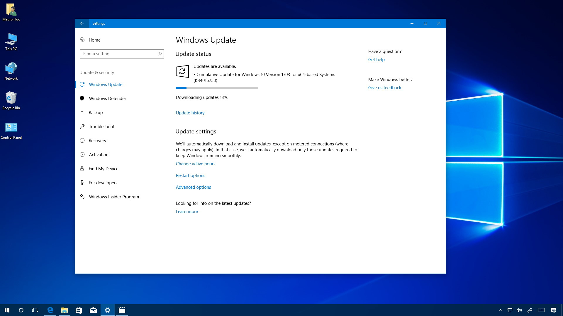 Cumulative update kb4016250 releases for windows 10 for Windows 10 update