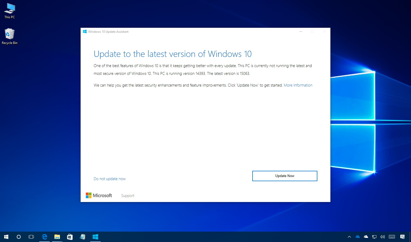 Windows 10 Creators Update using Update Assistant