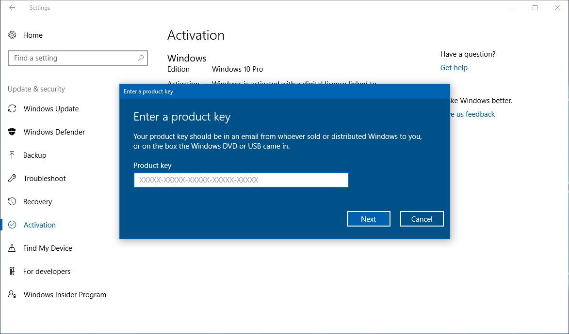 Enter new product key