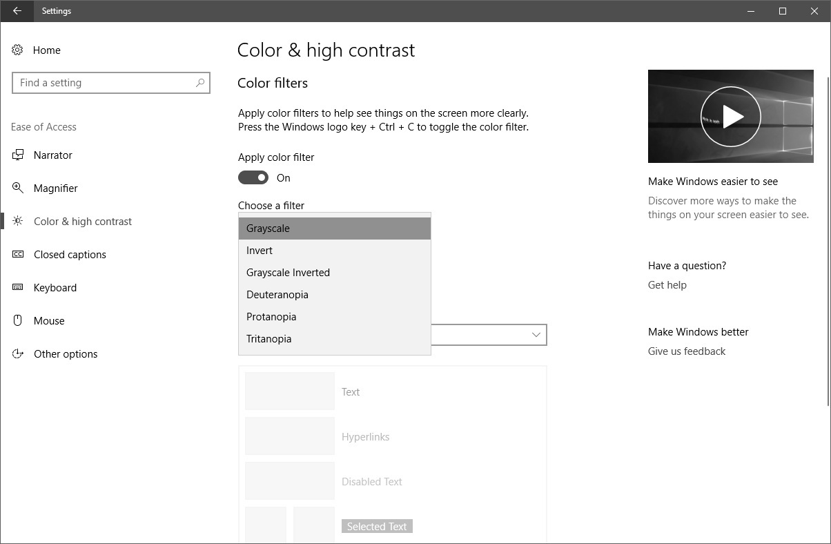 Color filter settings on Windows 10
