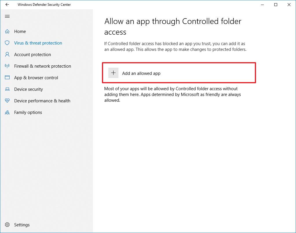 Allow app via Controlled folder access