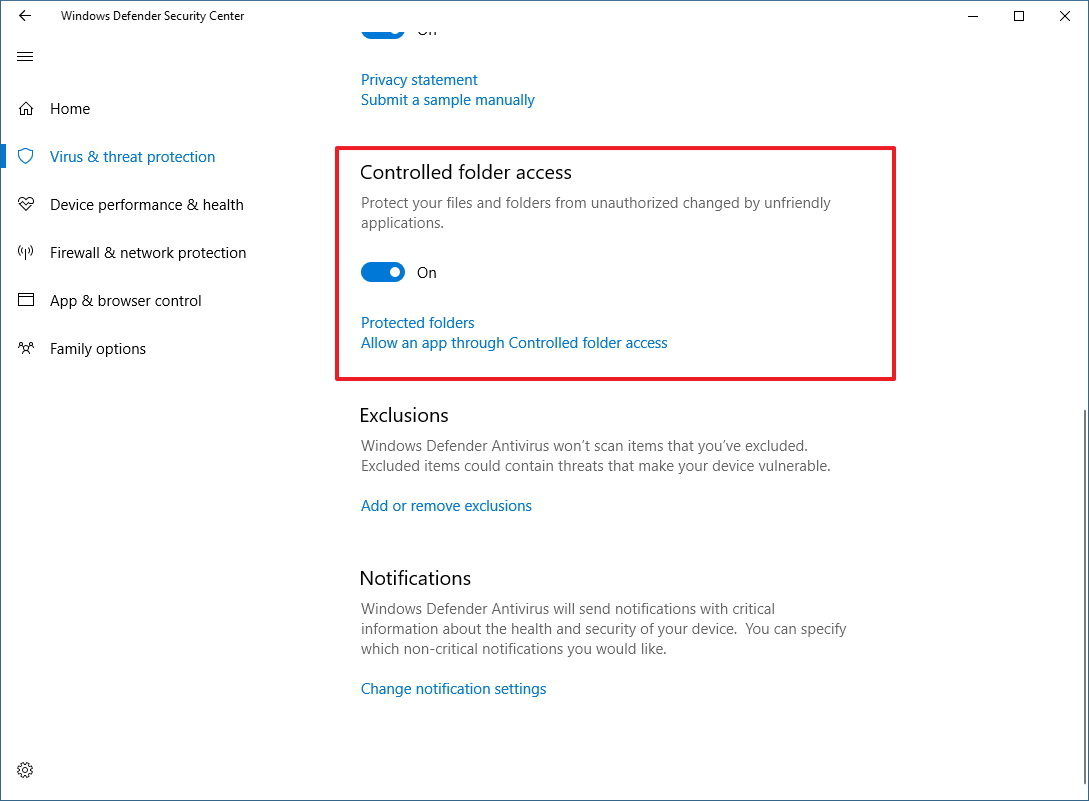 Controlled folder access settings