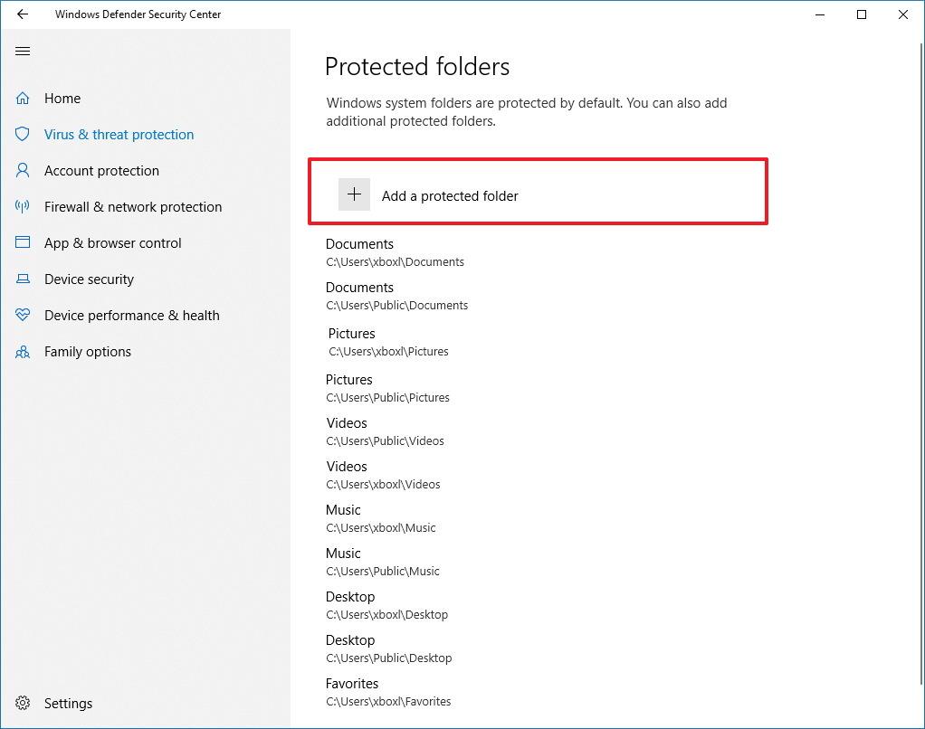 Protected folders settings