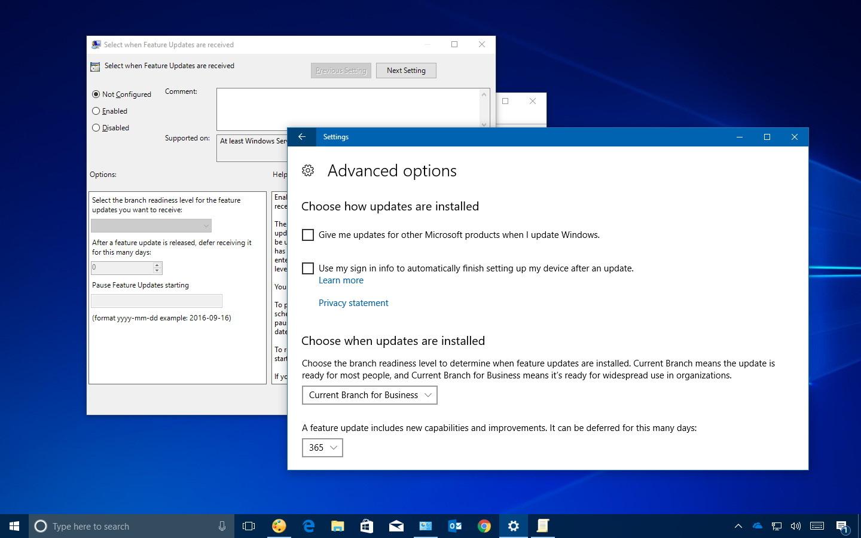Windows 10 Fall Creators Update defer options