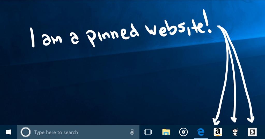 Microsoft Edge pin websites to taskbar