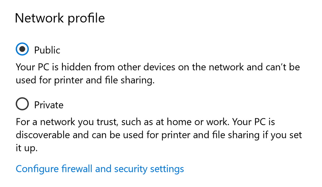 Network Public and Private settings