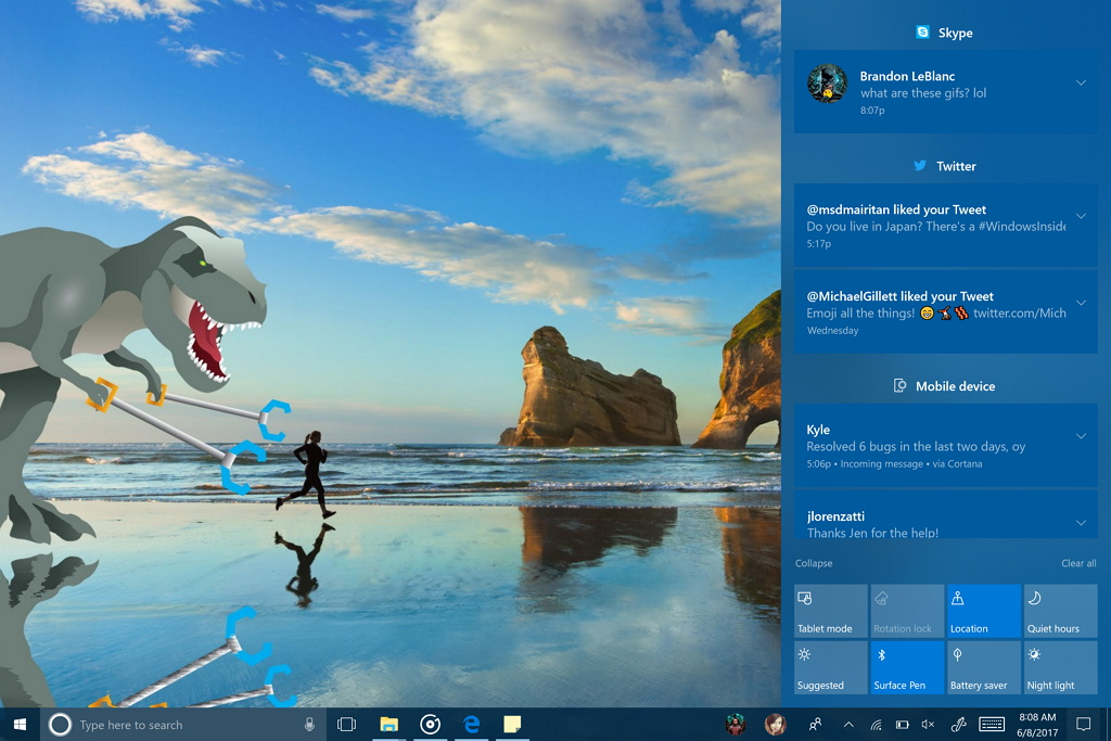Action Center with Fluent Design System
