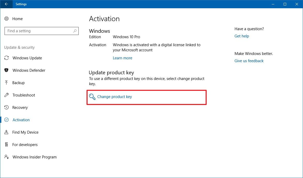 Change product key on Windows 10 S